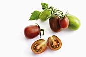 Tomatoes (heirloom variety: Black Plum), ripe and unripe