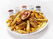 Chicken goujons with mozzarella sticks, chips, potato wedges