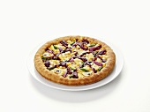 Cheese pizza with red onion