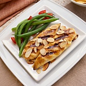 Grilled Honey Mustard Chicken with Toasted Almonds; Green Beans
