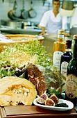 Figs, olive-oil, ham and salad, Costa Brava, Catalonia, Spain