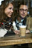 Young couple in a café
