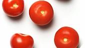 Fünf Tomaten auf einem drehenden Teller