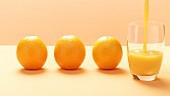 Drei Orangen & Orangensaft einschenken (Stop Motion)