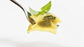 Herb ravioli with basil leaves on fork