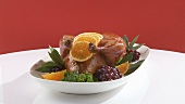 Roast duck on platter