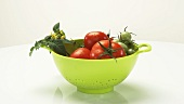 Ripe & unripe tomatoes with stem, leaves & flowers in colander
