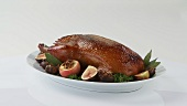 Roast duck with apples and figs