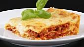 Ein Stück Lasagne auf einem Teller
