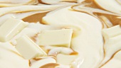 Melted white chocolate with caramel