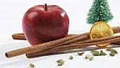 Weihnachtsgewürze, Deko-Tannenbaum und roter Apfel
