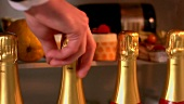 Hand taking bottle of champagne out of refrigerator