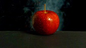 An apple exploding