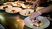 Chefs plating fish dish onto several plates