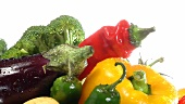 Assorted vegetables with drops of water