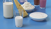 Assorted dairy products, cheese and flavoured milks