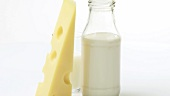 Emmental cheese, bottle of milk and glass of milk
