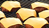 Burgers with cheese on a barbecue (for cheeseburgers)
