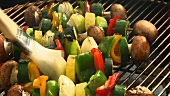 Vegetable kebabs on a barbecue