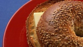 Sesame bagel with butter