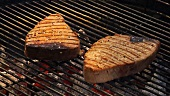 Seasoning tuna steaks on a barbecue