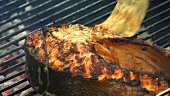 Grilling salmon steak