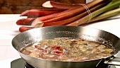 Cooking rhubarb in a frying pan