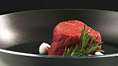 Beef fillet in a frying pan