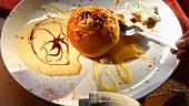 Bratapfel mit Vanillesauce und Zimtsterne