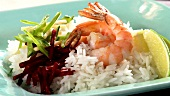 Prawns with rice and beetroot