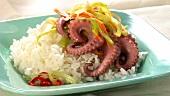 Oktopus mit Reis und Gemüsestreifen