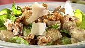 Pasta shells with Brussels sprouts, walnuts and Parmesan