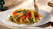 Fettuccine with smoked salmon and green asparagus