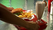 Burger with chips and chocolate shake