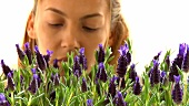 Young woman smelling lavender