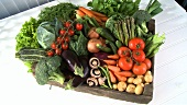 Fresh vegetables in a crate
