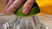 Limette auspressen (Close Up)