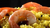 Yellow rice with prawns and red kidney beans