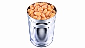 Baked beans in opened tin