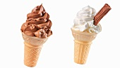 Two ice cream cones, with vanilla & with chocolate soft ice cream