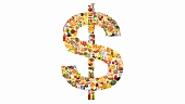 Various foodstuffs forming a dollar sign