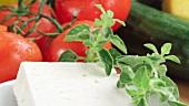 Feta, Oregano und Tomaten und Gurke