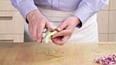 Peeling celery