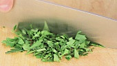 Parsley leaves being chopped