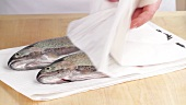 Trout with patted dry with kitchen paper