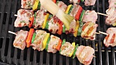 Meat and vegetable kebabs on a grill being brushed with oil marinade