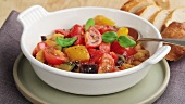 Ratatouille in a white bowl