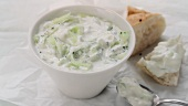 A bowl of tzatziki (Greek cucumber yogurt)