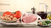 Ingredients for stifado (Greek meat ragout)
