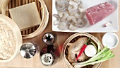 Ingredients for dim sum (won ton sheets, prawns, pork etc)